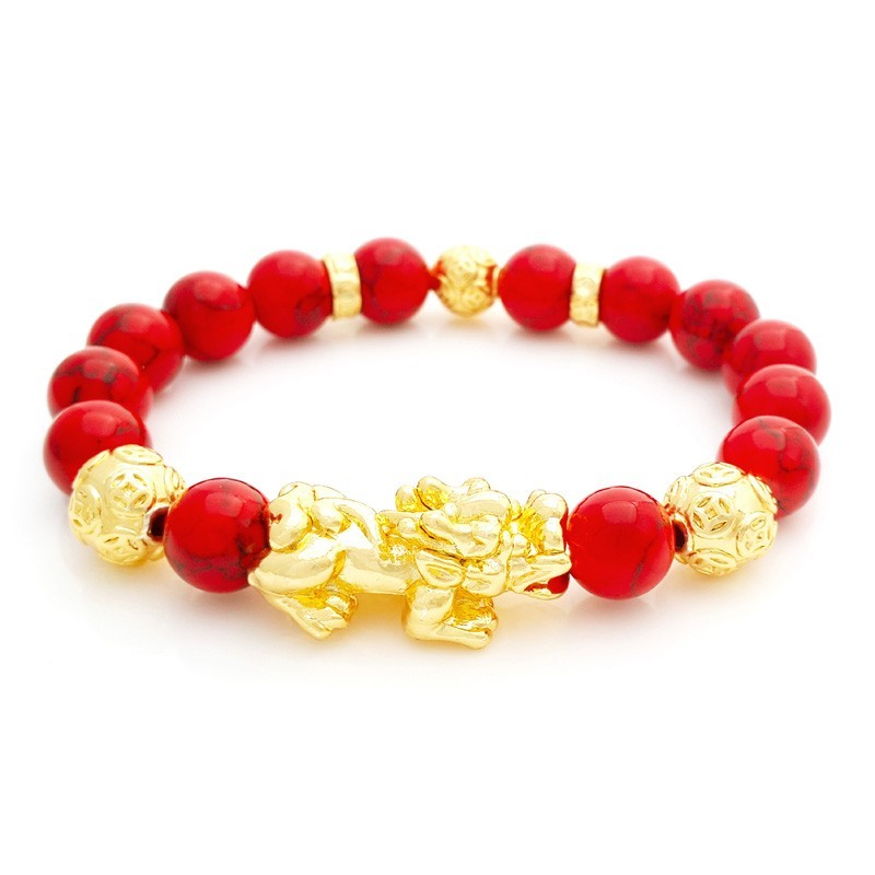 Feng Shui Golden Pi Yao Pi Xiu Lucky Charm with Red Turquoise Stones Bracelet
