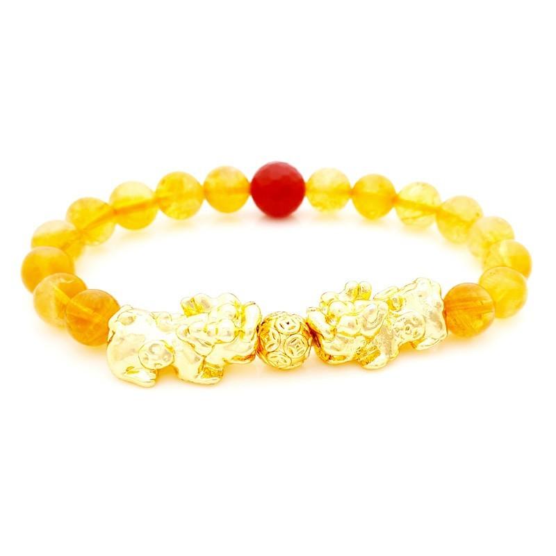 Feng Shui Golden Double Pi Yao Pi Xiu Lucky Charms Bracelet
