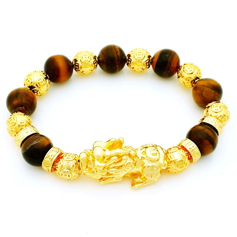 Feng Shui Golden Pi Yao Amulet with Tiger Eye Crsytals Bracelet