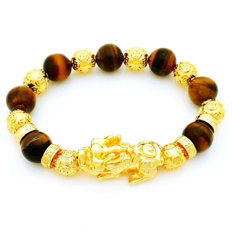 Feng Shui Golden Pi Yao Amulet with Tiger Eye Crsytals Bracelet