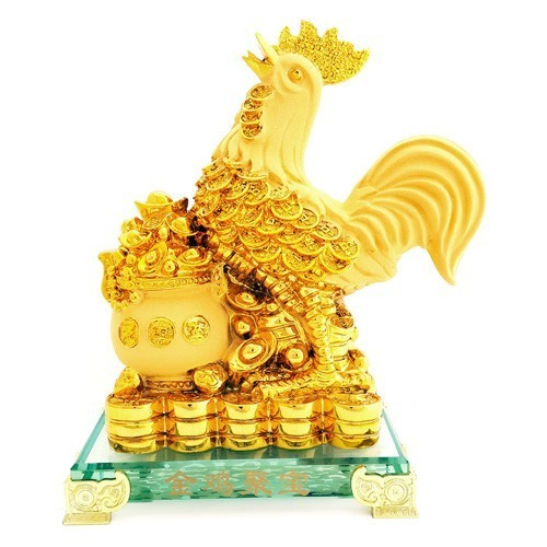 Feng Shui Golden Rooster with Overloaded Wealth Pot