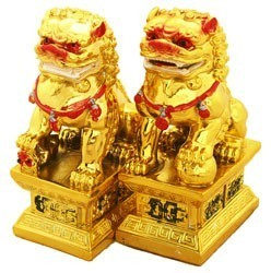 A Pair of Golden Fu Dogs