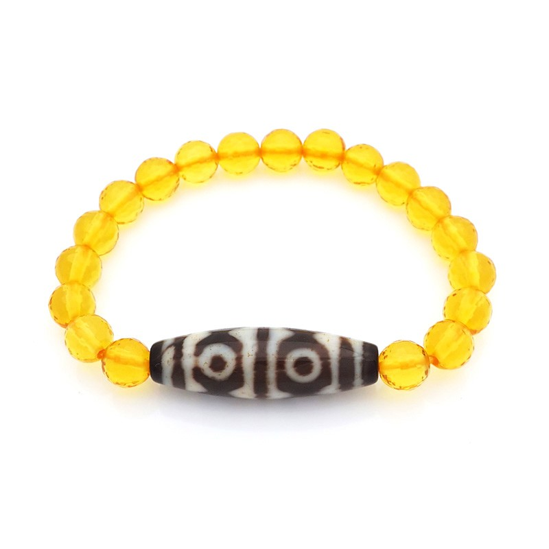 The Golden Tiger Tooth 6 Eyed DZi Bead with 8mm Faceted Citrine Bracelet