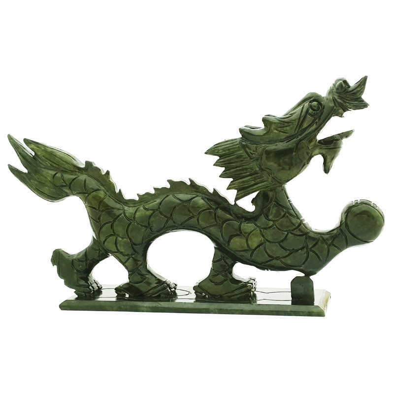 Good Fortune Natural Green Jade Dragon