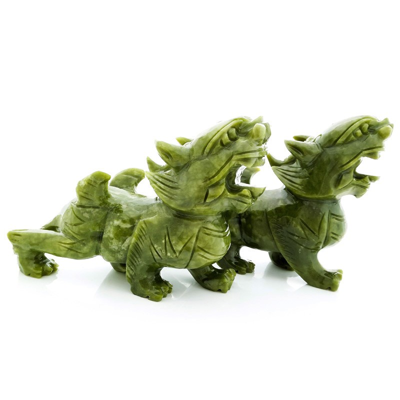 A Pair Of Feng Shui Green Jade Pi Yao Carving For Protection and Good Fortune