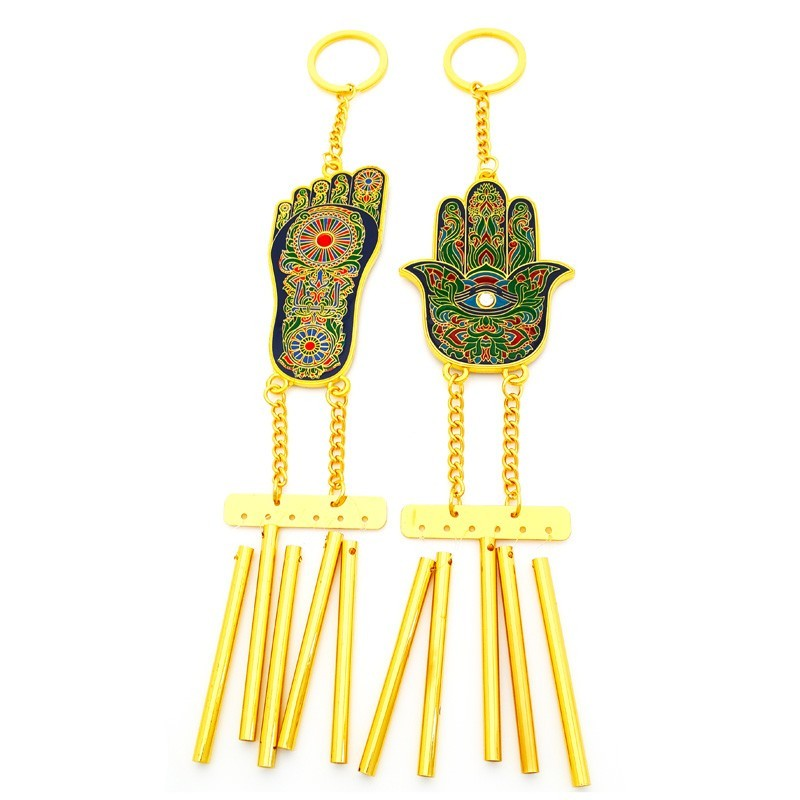 Hamsa Hand and Buddha Foot Feng Shui Windchimes