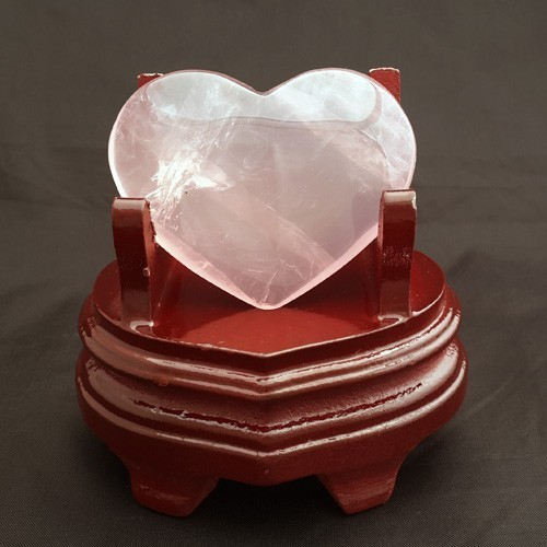 Heart-Shape Rose Quartz Crystal with Wood Stand
