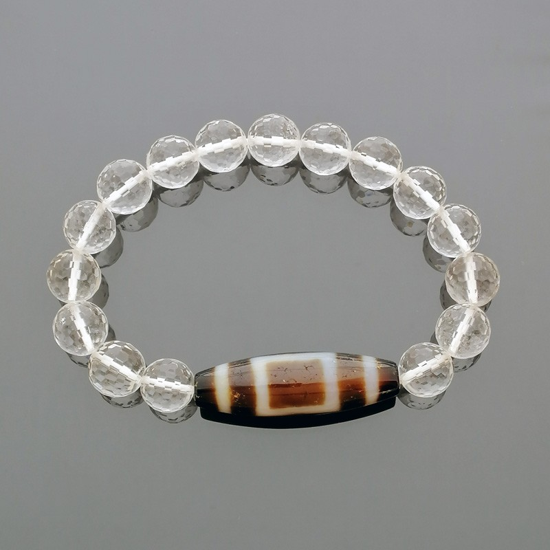 Heaven & Earth Dzi Bead with 8mm Faceted Clear Quartz Bracelet