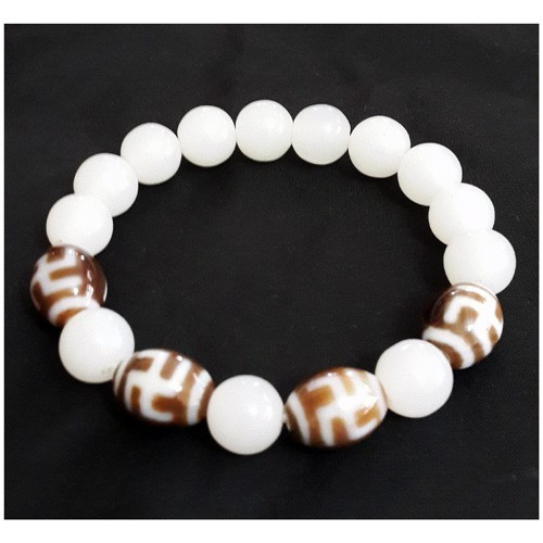 Hotu Dzi Beads with White Jade Bracelet