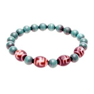 Hotu Dzi Beads with Natural Malachite Bracelet