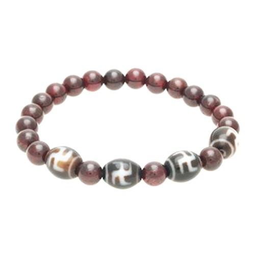 Hotu Dzi Beads with Natural Red Garnet Bracelet