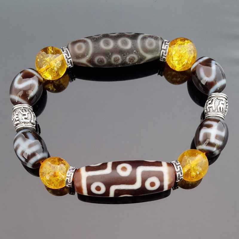 The Imperial Four Agate Dzi Beads Bracelet for GOOD LUCK