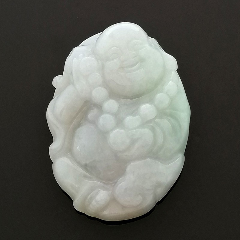 Natural Jadeite Grade A Carved Laughing Buddha Image Amulet Pendant