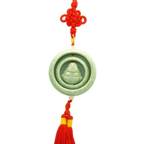 Laughing Buddha Jade Tassel For Good Luck