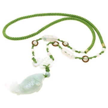 Jade Carp Fish with Mystic Knot Necklace
