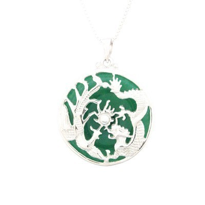 Magnificent Dragon and Phoenix Pendant in Jade and Silver