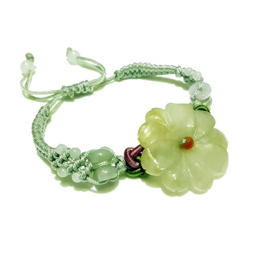 The Sunflower Jade Bracelet - Light Green
