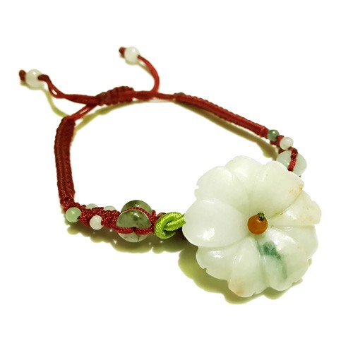 The Sunflower Jade Bracelet - Maroon