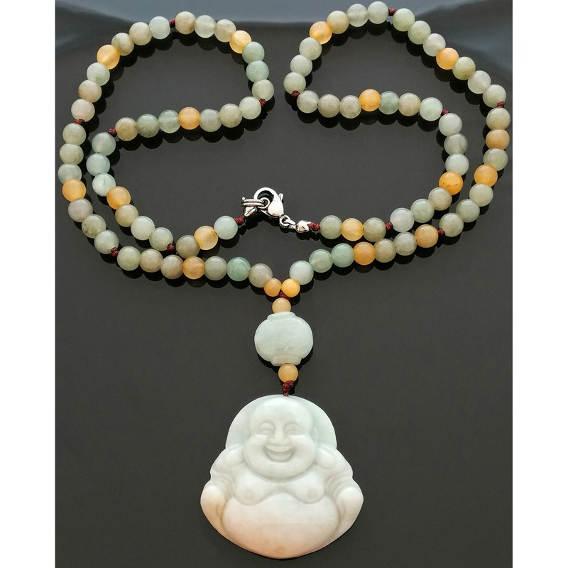 Authentic 100% Natural JADE Laughing Buddha Pendant – Limited Edition