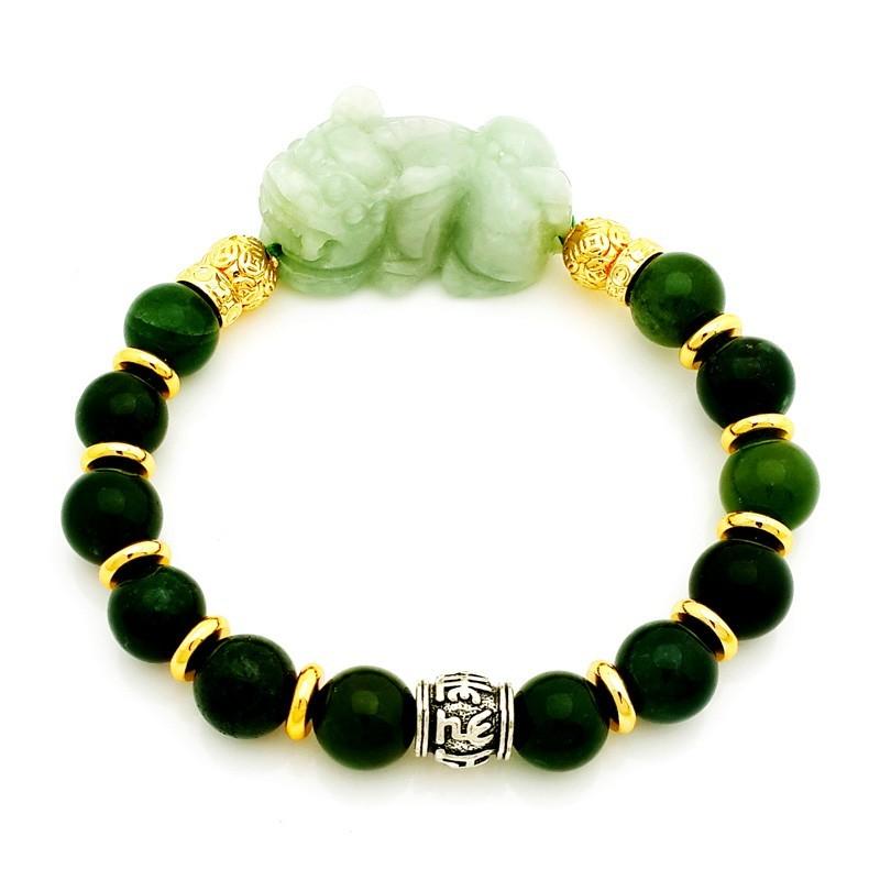 Feng Shui Pi Yao Pi Xiu Green Jade Jadeite Lucky Charm Bracelet