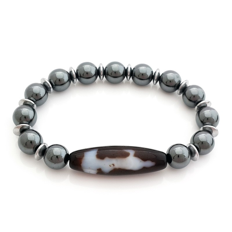 Kuan Yin Dzi Bead with 10mm Hematite Bracelet
