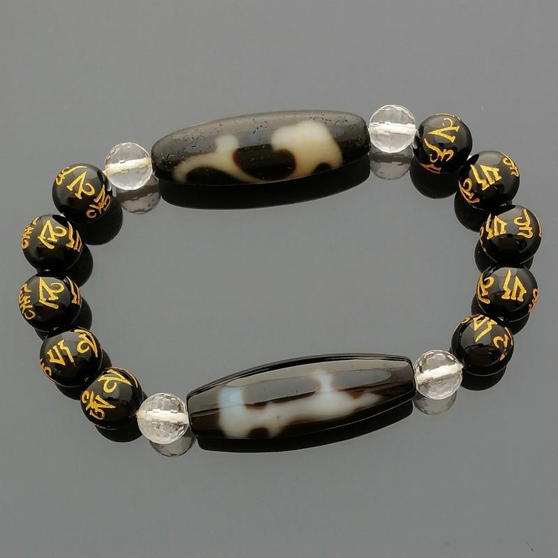 Authentic OLD Agate dZi Beads Garuda and Kuan Yin with Hetian Jade Bracelet