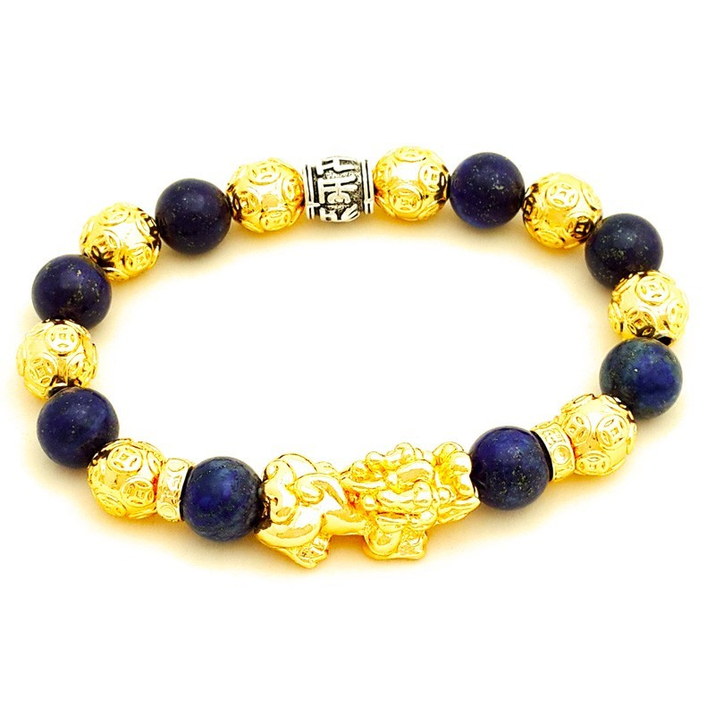 Feng Shui Natural Lapis Lazuli Crystal with Golden Pi Yao Lucky Amulet Bracelet