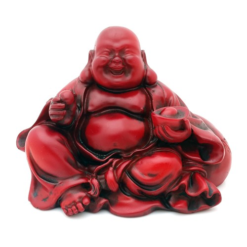 Laughing Buddha holding an Ingot