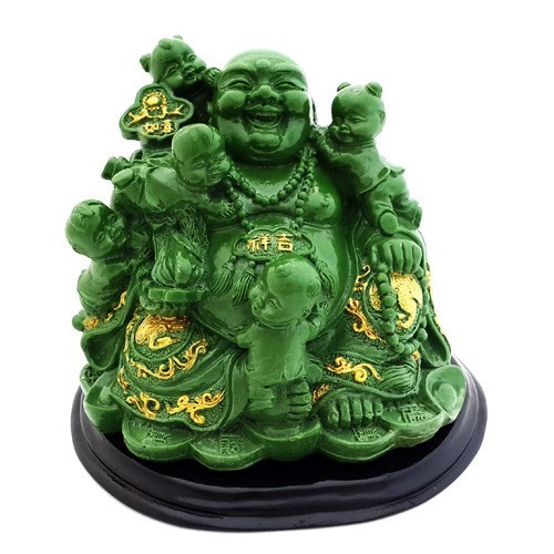 The Laughing Buddha With Children - Jade Green