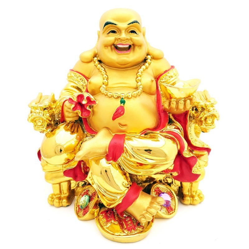 The Golden Laughing Buddha Sitting on Dragon Chair