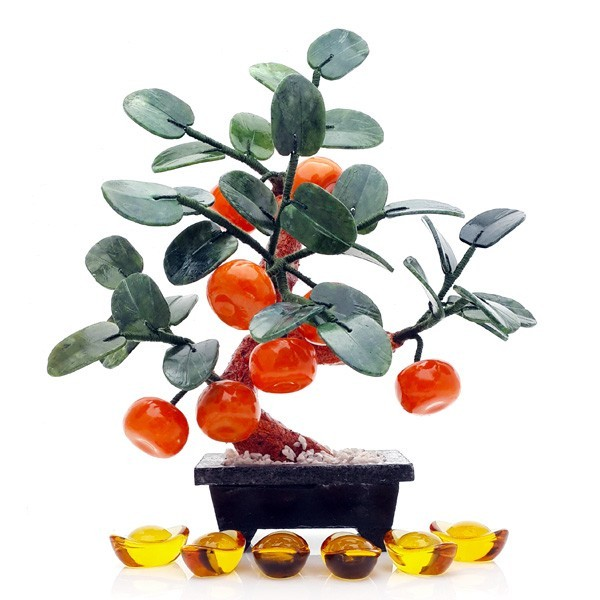 Feng Shui Jade Mandarin Orange Tree for Prosperity and Good Fortune