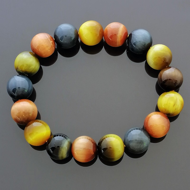 Natural Mixed Tiger Eye Crystal Gemstone Stretch Bracelet for Success