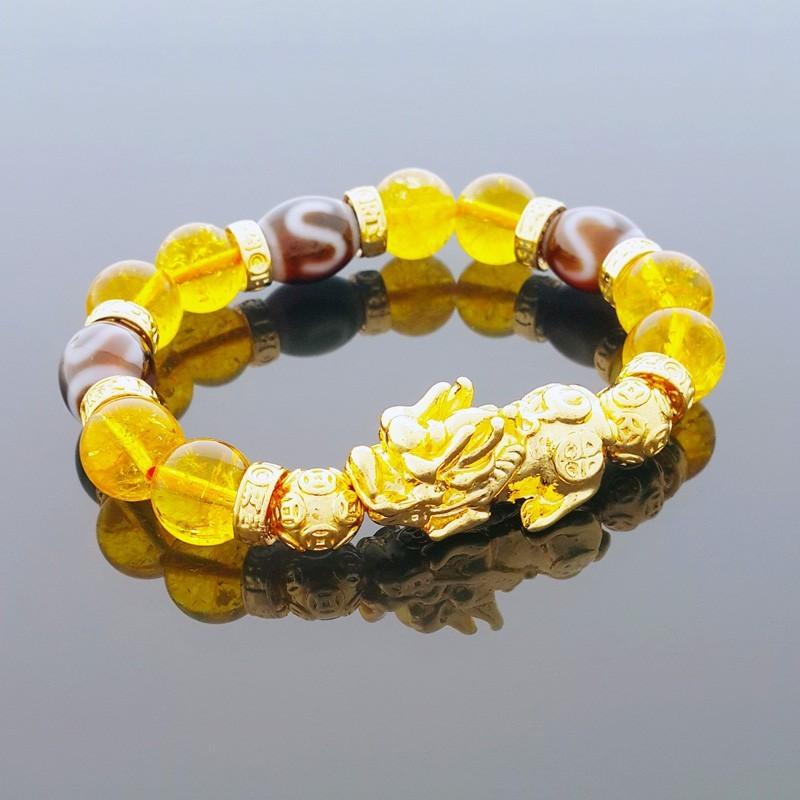 Tibetan Agate Money Hook Dzi with Feng Shui Pi Yao Lucky Amulet Bracelet
