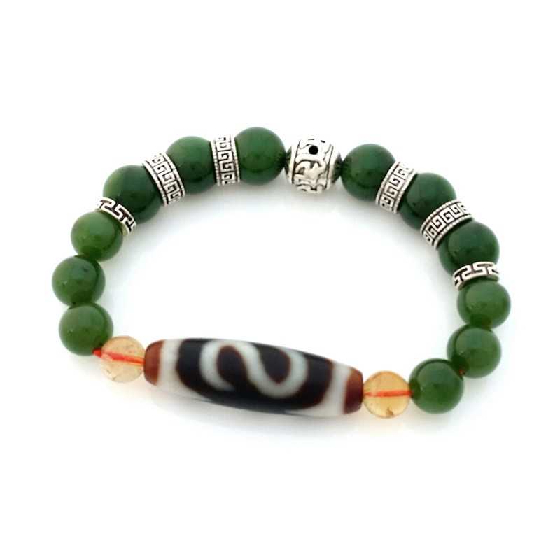 Authentic OLD Agate Dzi Bead Money Hook with Hetian Jade Feng Shui Bracelet