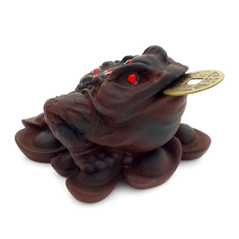 Three Legged Toad on Bed of Ingots - Dark Brown