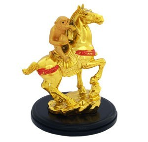 Auspicious Golden Monkey on Horse