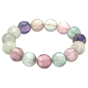 Natural Faceted Fluorite Bracelet - 14mm