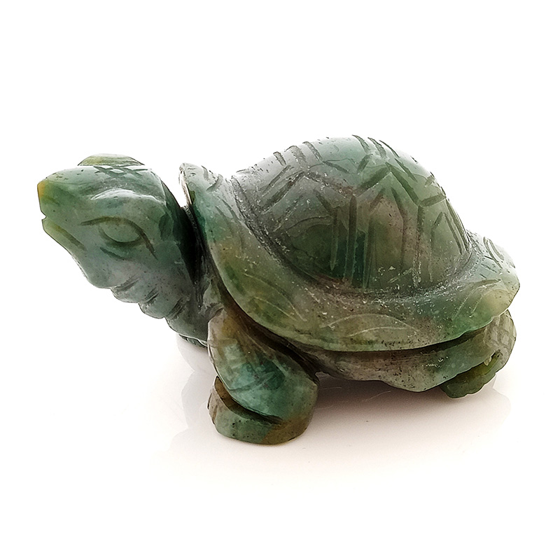 Feng Shui Auspicious Tortoise Bloodstone Statue for Peace and Prosperity
