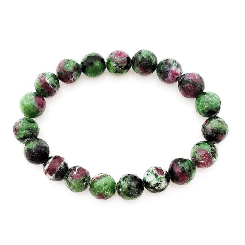 Natural Ruby Zoisite Faceted Round Beads Crystal Bracelet