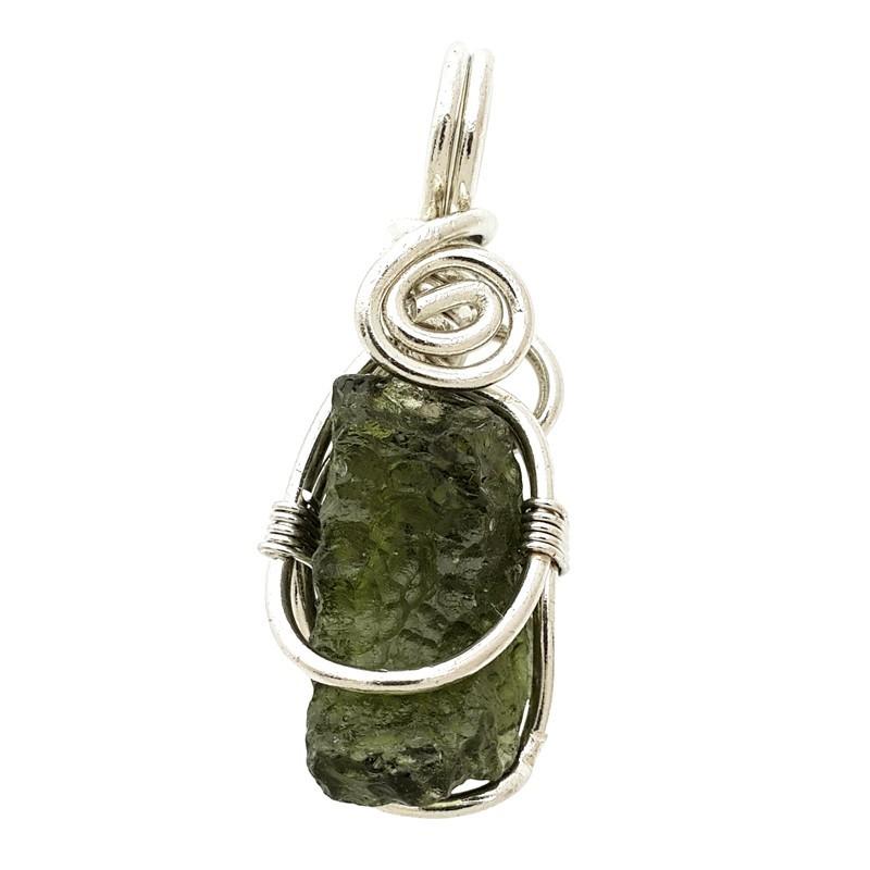 Natural Moldavite Crystal Gem Stone Pendant