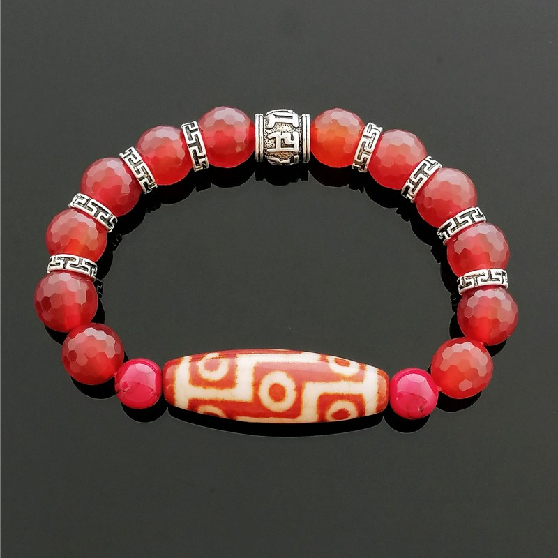 Nine Eyed Dzi Bead Bracelet