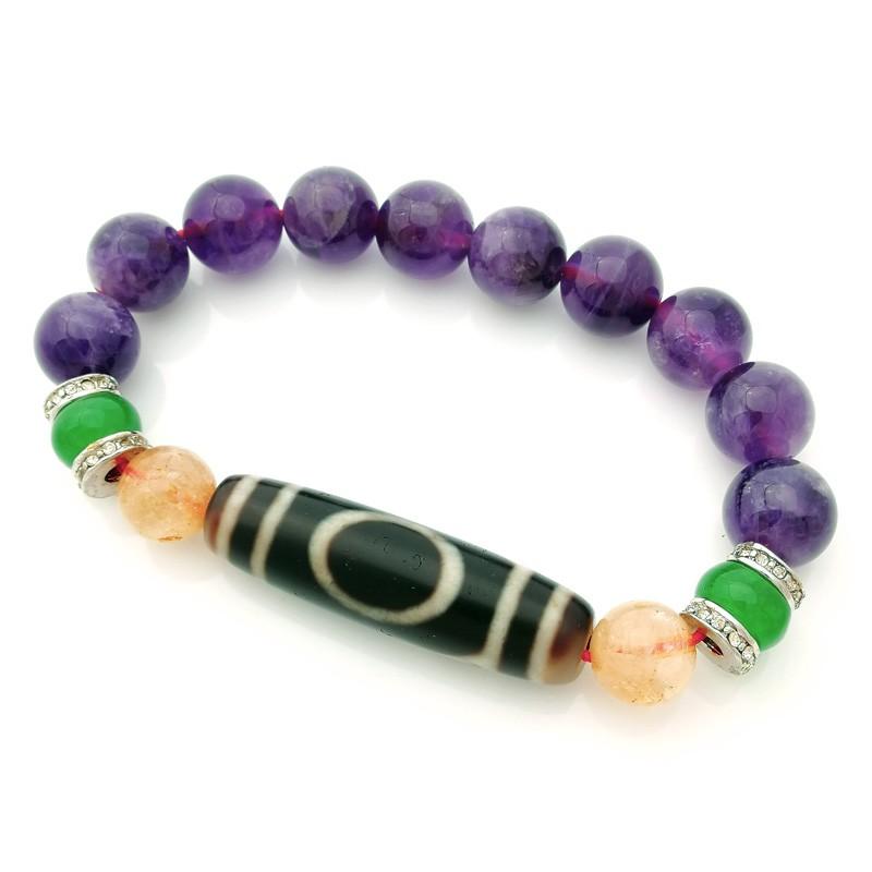 Authentic OLD dZi Bead One Eye Bracelet for Authority Luck