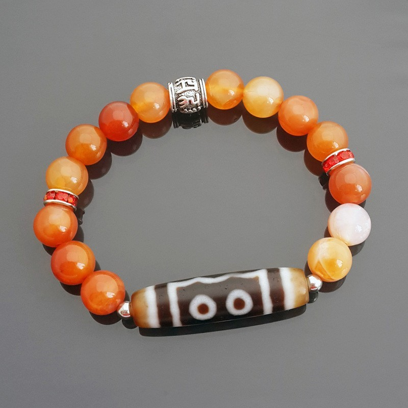 Authentic Tibetan OLD 5 Eyed dZi with Orange Agate Bracelet for Good Fortune and Wealth