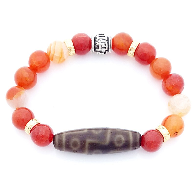 Authentic Tibetan OLD 9 Eyed dZi with Orange Agate Bracelet for Wealth and Success