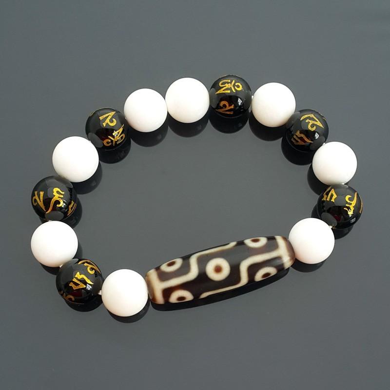 Authentic OLD Dzi Bead 9 Eyed Bracelet