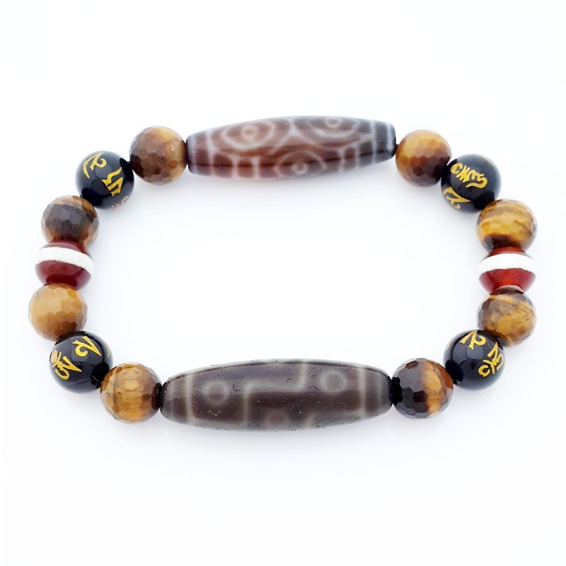 Dragon Eye and OLD Tibetan 9-Eyed Dzi Beads Bracelet