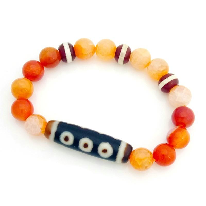 Old Agate 5 Eyed Dzi Bead Bracelet