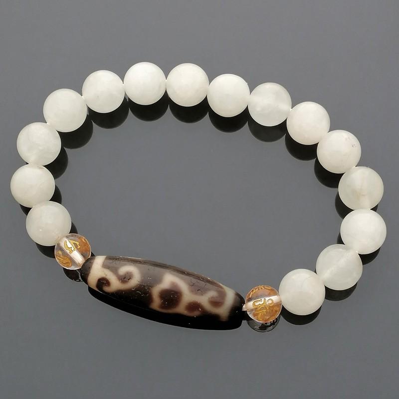 Authentic OLD Agate Dzi Bead Lotus Flower with Aquamarine Feng Shui Bracelet