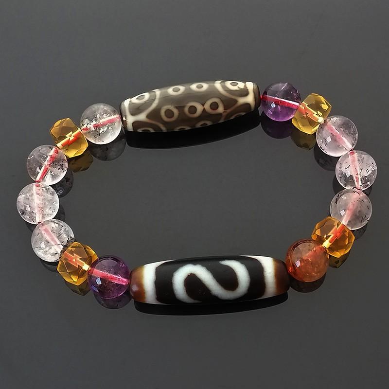 Authentic OLD DZI Beads Money Hook and 21 Eyes Good Luck Amulet Bracelet