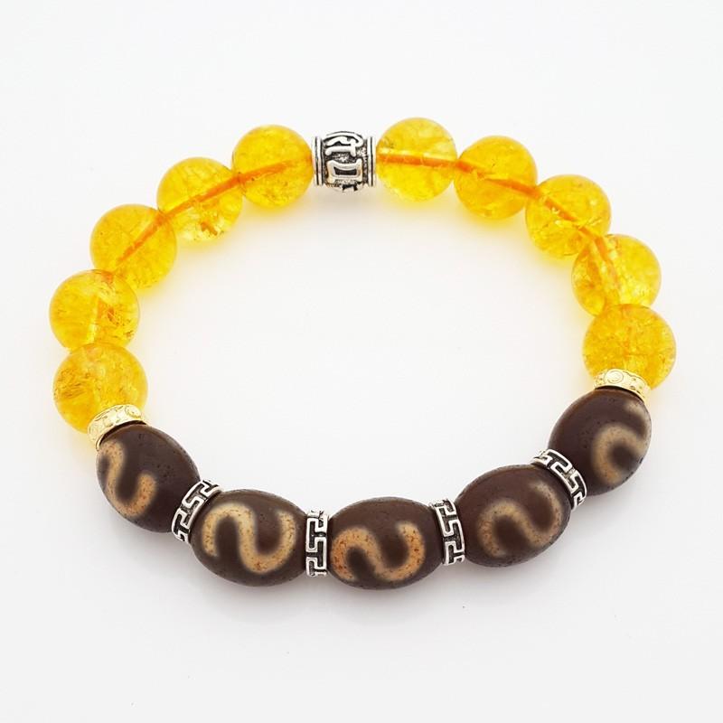 Genuine OLD dZi Bracelet Tibetan Money Hook dZi Beads Bracelet